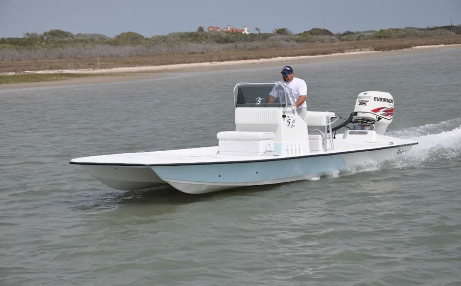 Shoalwater boats 23 foot catamaran shallow fishing boat for Shallow water fishing boats